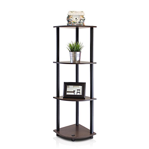 Furinno 12078DB-WG/BK Turn-n-Tube Multipurpose 4-Tier Corner Shelf, Dark Brown Grain/Black