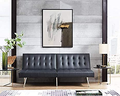Groovy Naomi Home Tufted Split Back Futon Sofa Black Linen Squirreltailoven Fun Painted Chair Ideas Images Squirreltailovenorg