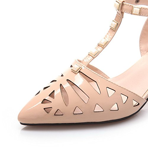 Cow Womens Leather Closed Heels Solid Sandals Kitten AmoonyFashion Toe Apricot Buckle pZnwYqxU