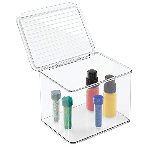 mDesign Art Supplies, Crafts, Crayons and Sewing Organizer – Small, 5″ Tall, Clear