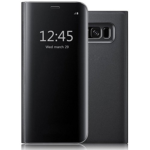 New Mirror Phone - Samsung Galaxy NOTE8 Case,Luxury Electroplating Clear Mirror Shockproof Protective Case Slim Metal Aluminum Flip Stand Cover for Samsung Galaxy NOTE8 Black