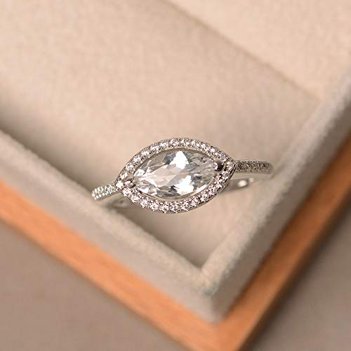white topaz engagement rings for lady sterling silver marquise cut halo ring customized - Ring Marquise Topaz