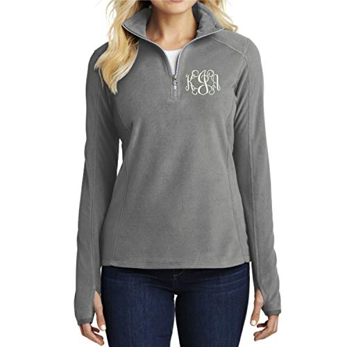 - Lane Weston Monogrammed Women's Microfleece Half Zip Pullover Sweatshirt (Medium, Pearl Grey)