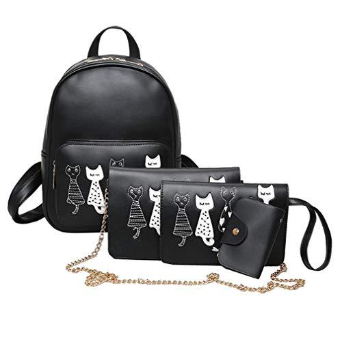 Bag Female Purse 03 Leather 4Pcs Girls Small School PU Women Backpacks Teenage Bags Shoulder BnOASqPO7