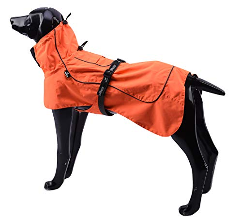 Tellpet Dog Jacket Waterproof Dog Raincoat, Orange, Medium