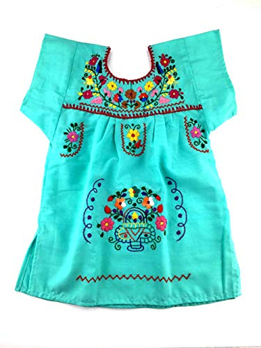 (Mexican Infant Dress Hot Mint Blue Size 0 Tehuacan Dress Day of The Dead Coco Theme Party Halloween)