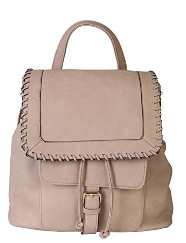 rimen-co-pu-leather-casual-backpack-solid-color-women-with-drawstring-closure-ob-2509-taupe
