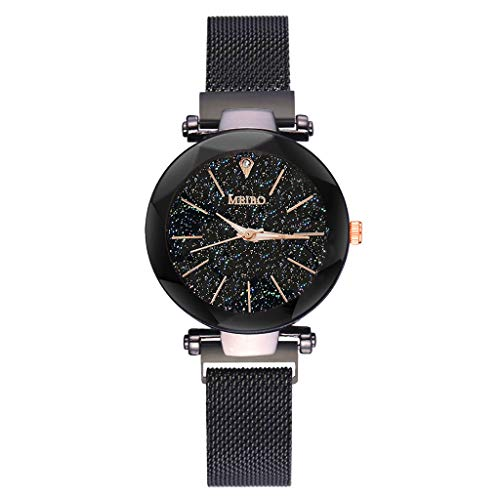 Price comparison product image 2019 Spring Deals! Fashion Women Watches Quartz Stainless Steel Band Magnet Buckle Starry Sky Analog Wrist Watch Lover Gift Valentine's Day present (Black)