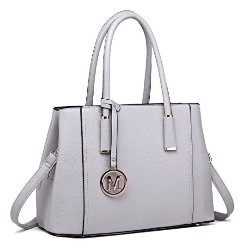Pu Top Miss Stylish Lulu Handbag Litchi Leather Grey Light Design Shoulder Skin Ladies 1748 Tote Quality for Women BxBg8qwr