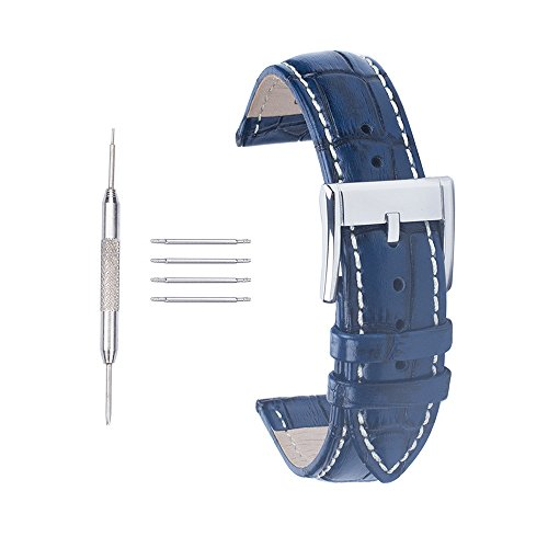 ACUNION™ 22mm Croco Cow Leather Watch Strap Wrist Replacement Buckle Watch Band Navy Blue