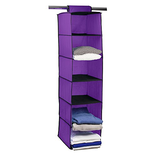 Campus Linens Hanging Garment Organizer for College Dorm Storage (Color Grape) by Campus Linens