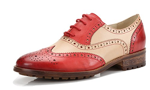 (U-lite Red Beige Perforated Lace-up Wingtip Leather Flat Oxfords Vintage Oxford Shoe Women rb 9)
