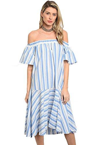 Vina Vino Women's Cotton Poplin Striped Off Shoulder Tunic Dress ()