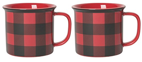 Now Designs Heritage Stoneware Mugs, Buffalo Check - 14 oz Capacity | Set of 2