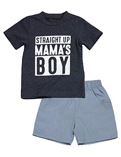 - Toddler Baby Boy Summer Clothes Mr Onederful Print Short Sleeve T-Shirt and Shorts First Birthday Outfit Set (B-Gray, 12-18 Months)