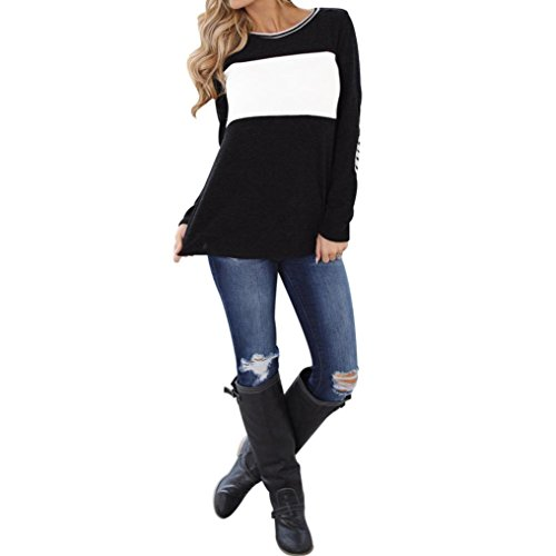 Women Tops, Gillberry Womens Cotton Long Sleeve Round Neck Splice Shirt Blouse Tops T Shirts