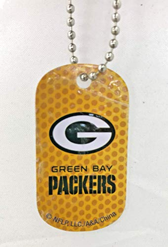 Mirror Mania Green Bay Packers NFL Football Dog Tag Chain Personalized Free Engraved Custom Name On Back - a Chain, Keychain, Luggage tag, or Clip on Backpack or Bag.