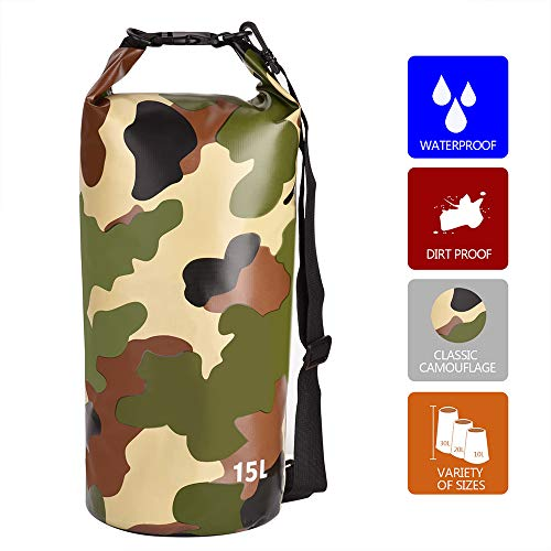 ZACX Waterproof Dry Bag,Classic Camouflage Style Water Resistant Roll Top Compression Sack Fishing Water Container Storage Keeps Gear Dry for Kayaking, Boating, Camping, Rafting, Fishing, Beach(15L) ()