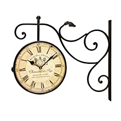 Adeco Black Wrought Iron Vintage-Inspired Train Railway Station Style Round Double Side Two Faces Wall Hanging Clock with Scroll Wall Side Mount Chateau Renier Home Decor