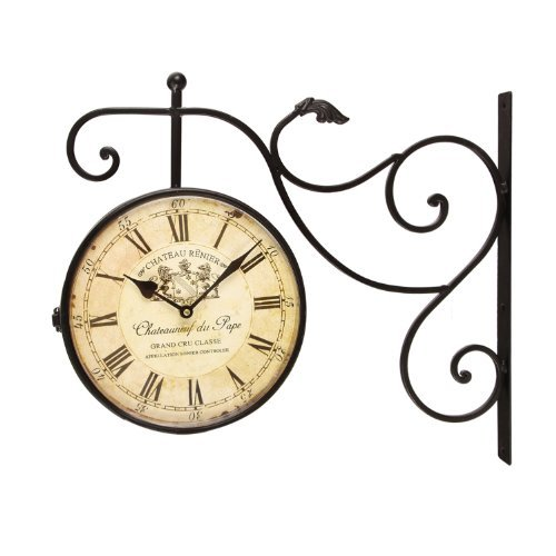 - Adeco Large Black Wrought Iron Vintage-Inspired Train Railway Station Style Two Faces Wall Hanging Clock with Scroll Wall Side Mount Chateau Renier Home Decor, 18.5 x 15.5 x 3 inches, CK0072, Black