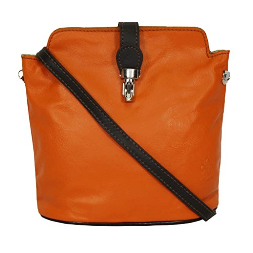 Genuine Soft or Italian Leather Ostrich Coffee Handbag amp;orange Silver Body Shoulder or Effect Cross Small Bag trgrw