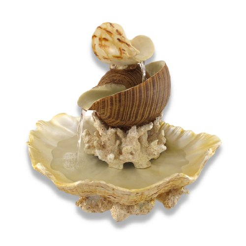 letop Fountains Sculpted Seashells And Coral Indoor Table Top Water Fountain 14.5 X 13.5 X 12.75 Inches Multicolored (Shell Water)