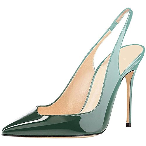 Slingback Stiletto Gradient Stiletto Toe Pointy Sexy Heeled Green Heels Patent Comfity High Pumps Pumps Sandals Strap Ankle Wedding rxqATrwO
