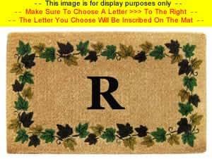 "Monogram Doormat - Natural Coir Brush Mat For Outdoors - Ivy Vine Border - 22"" x 36"" - Large Letter ""N"""