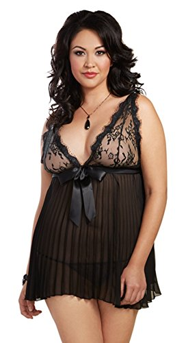 Dreamgirl Women's Plus Size Flirty Glamourous Pleated Chiffon Babydoll and Panty, Black, (Flirty Baby Doll)