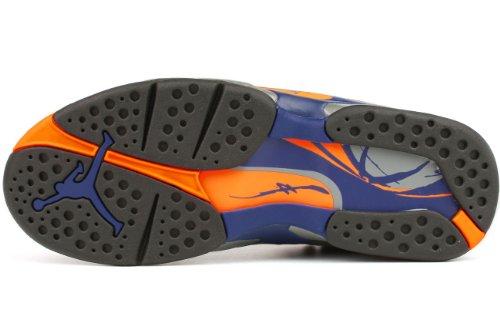 Nike Zapatillas De Baloncesto De Cuero Retro Phoenix Para Hombre Air Jordan 8 Negras / Brillantes Cítricos-cool Gris Intenso Azul Intenso