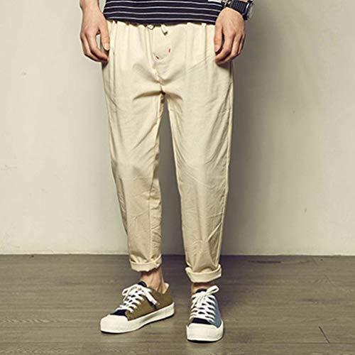 Casual Classiche Kaki Unita In Pantaloni Fashion Coulisse Con Tasche Sportivi Uomo Da Laisla Ragazzi Lino Tinta wSCFqx7q