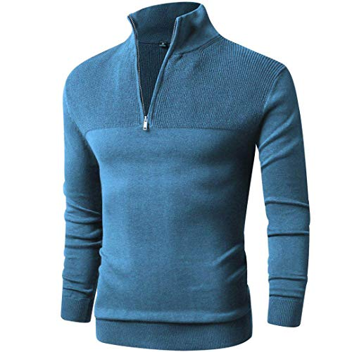 - LTIFONE Mens Slim Fit Zip Up Mock Neck Polo Sweater Casual Long Sleeve Sweater and Pullover Sweaters with Ribbing Edge(Lake Blue,M