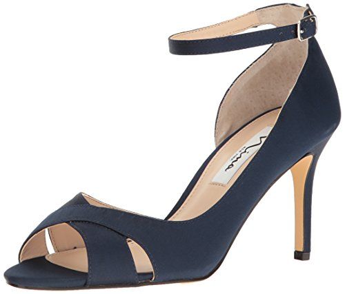 - Nina Women's Flo Dress Pump, New Navy Luster Satin, 8 M US
