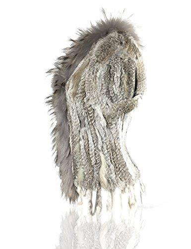 Mujeres de Natural 100 cuello chaleco Natural conejo de de con de piel Uilor® Gray pie punto qTad8q