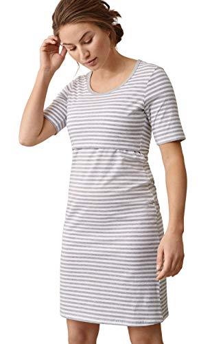 Boob Damen Umstandsnachthemd Still und Umstands Nachtshirt Still Nachthemd für Schwangere und Stillzeit aus Bio-Baumwolle