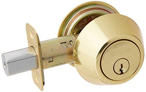 - Schlage Lock Company JD62V605 Schlage Double Cylinder Deadbolt, Bright Brass