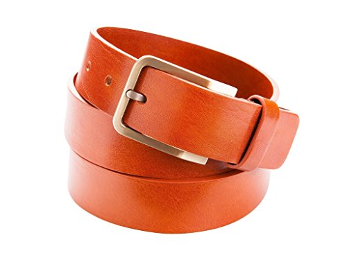Leather belt with metal buckle for Men by Danny P. (Brown) by Danny P. leather accessories