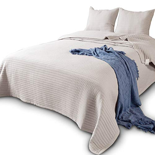 DOMDEC Bedspread Coverlet Mini Set Down Alternative Light Weight Comforter Cozy Soft Oversized Pre-Washed 3 Piece Quilt Set Solid Color (Taupe, Oversize King + 2 King Shams)