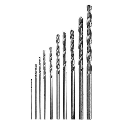 Besttse - Juego de brocas helicoidales para taladro elé ctrico (acero HSS de 0,5 a 3 mm, 10 unidades)