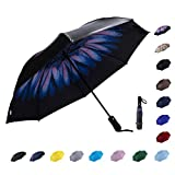 NOOFORMER Automatic Inverted Folding Umbrella - Compact Lightweight Windproof Travel Reverse Car Umbrellas for Men Women -46.5 inches Large