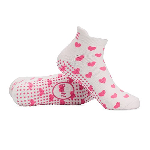 Labor Delivery Push Hospital Non Skid Heart Socks by Baby Be Mine Maternity , Best Baby Shower Gift (6-9, White with Pink (Pink Heart Socks White)
