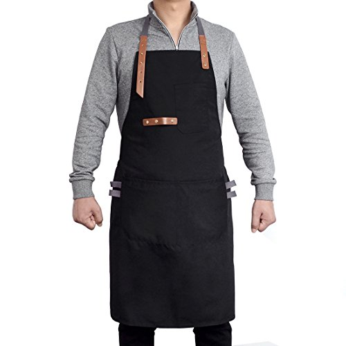 Coffee Apron - Pinji Canvas Aprons for Men and Women Adjustable Bib Aprons Unisex for Chef Kitchen Cooking Work with 3 Pockets