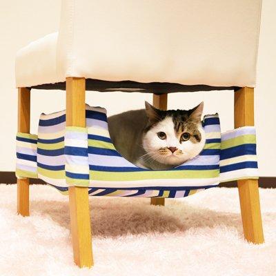 キャティーマン (CattyMan) にゃんこの隠れ家ベッド ブルーストライプ