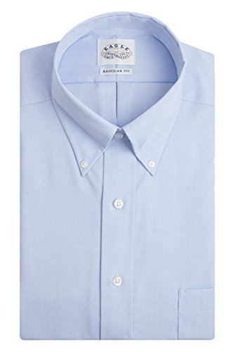 (Eagle Men's Non Iron Regular Fit Solid Button Down Collar Dress Shirt, Blue Mist, 16.5
