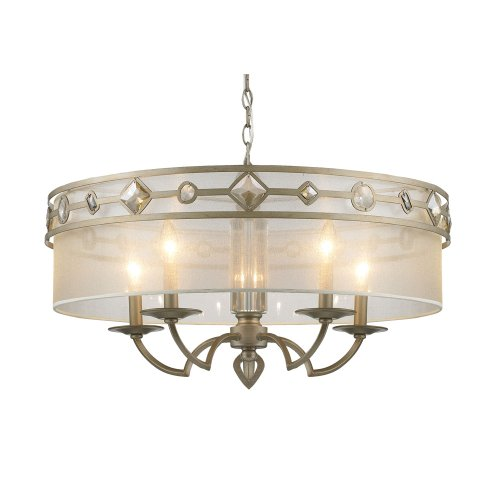 Golden Lighting 6390-5 WG Chandelier with Filigree Shades, White Gold Finish