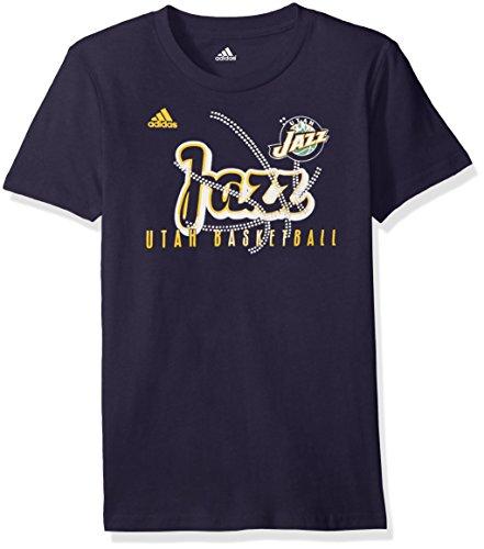 fan products of NBA Girls 7-16 Utah Jazz Middle Basketball Short Sleeve Tee-Navy-M(10-12)