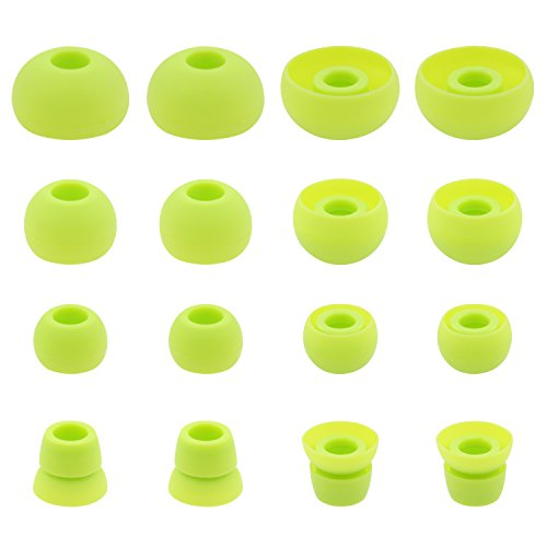 (ALXCD Ear Tips for PB3 Powerbeats 3 Headphone, SML 3 Sizes 6 Pair Silicone Replacement Earbud Tips & 2 Pair Double Flange Ear Tips, Fit for Beats Powerbeats2 Pb3 [8 Pair](Green))