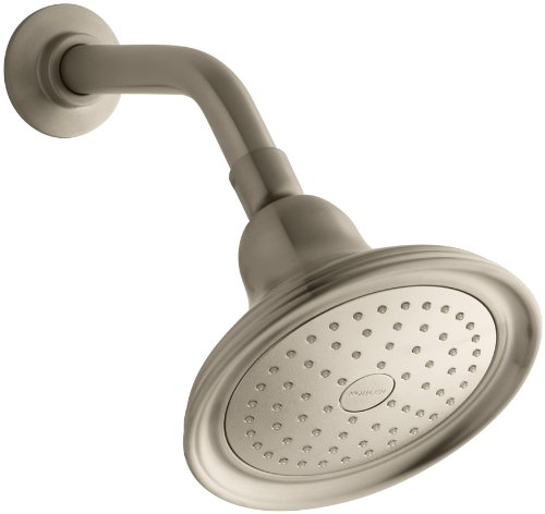 KOHLER 10391-AK-BV Devonshire 2.5 GPM Single-Function Wall-Mount Showerhead with Katalyst Spray, Vibrant Brushed Bronze (Showerhead Shower Devonshire Accessory)