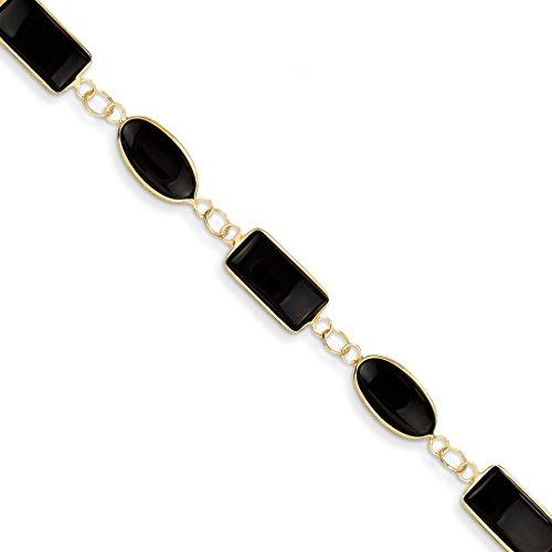 (14k Yellow Gold 7 Inch Black Onyx Bracelet Gemstone Fine Jewelry For Women Gift Set)