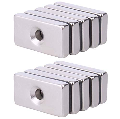 Neodymium Rectangular Pot Magnets with Counter Bore, Countersunk Hole Magnets with Mounting Screws-30x15X5MM (10 Pack) ()